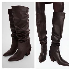 NWT: ZARA HIGH SHAFT HEELED LEATHER BOOTS